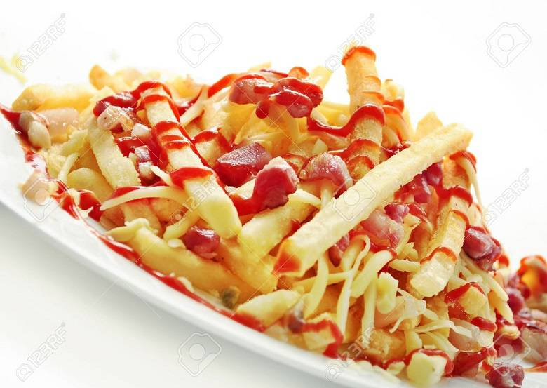۹۶۷۳۰۲۰-delicious-french-fries-with-bacon-and-cheese-stock-photo