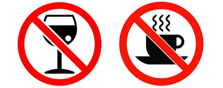 الکل و کافئین ممنوع